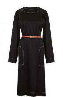 Платье-миди с карманами и контрастным поясом Loewe