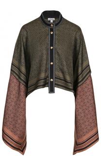 Шелковая блуза свободного кроя с расклешенными рукавами Loewe