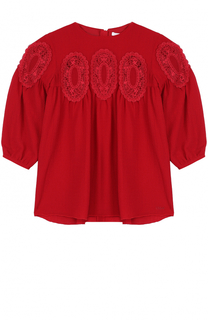 Мини-платье с завышенной талией и кружевной отделкой Chloé