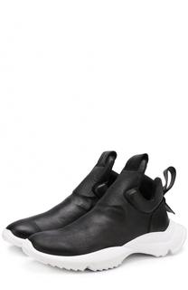 Кожаные кеды без шнуровки на контрастной подошве Cinzia Araia