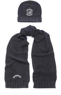 Хлопковый комплект из шапка и шарфа с нашивкой Marc Jacobs
