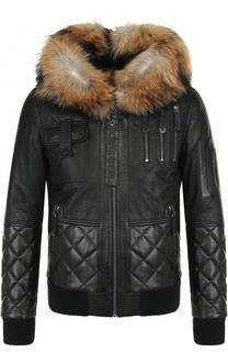 Кожаная куртка на молнии с меховой отделкой капюшона Philipp Plein