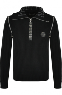 Шерстяной свитер с воротником на молнии Philipp Plein