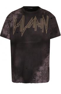 Хлопковая футболка свободного кроя с принтом и потертостями Balmain