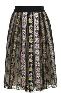 Хлопковая юбка-миди с вышивкой Alice + Olivia
