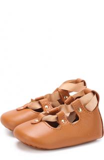 Кожаные пинетки на шнуровке Chloé