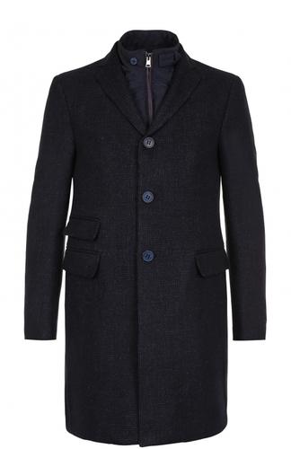 Однобортное пальто из смеси шерсти и шелка со льном с подстежкой Pal Zileri