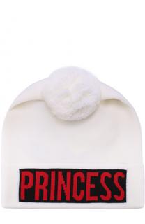 Шерстяная шапка с контрастным отворотом и помпоном Dolce & Gabbana