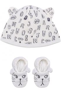 Хлопковый комплект из пинеток и шапки с принтом Marc Jacobs