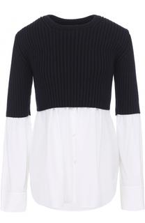 Шерстяной пуловер с хлопковыми вставками Kenzo