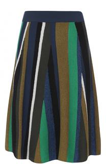 Шерстяная юбка-миди в полоску Kenzo