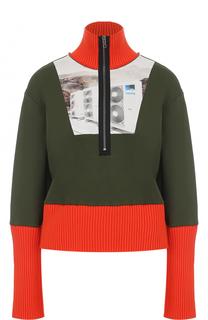 Хлопковый пуловер с высоким воротником на молнии Kenzo