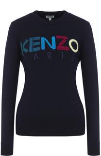 Шерстяной пуловер с контрастным логотипом бренда Kenzo