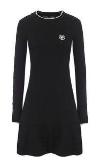 Платье-толстовка с оборкой и вышитым логотипом бренда Kenzo