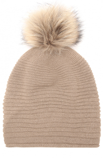 Кашемировая шапка фактурной вязки с меховым помпоном TSUM Collection