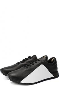 Кожаные кроссовки на шнуровке с контрастной отделкой Officine Creative