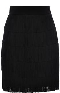 Однотонная мини-юбка с бахромой Stella McCartney