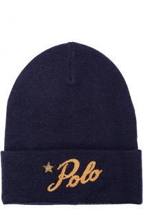 Шерстяная шапка бини с вышивкой Polo Ralph Lauren