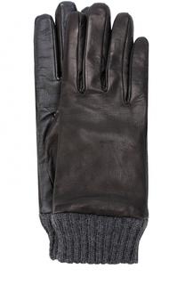 Кожаные перчатки с шерстяной подкладкой и манжетами Diesel