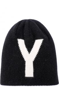 Шерстяная вязаная шапка с принтом Yohji Yamamoto