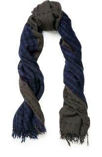 Шерстяной шарф в клетку с необработанным краем Yohji Yamamoto