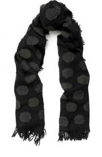 Шерстяной шарф с принтом и необработанным краем Yohji Yamamoto