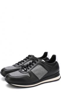 Кожаные кроссовки на шнуровке с текстильной отделкой Ermenegildo Zegna