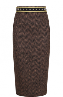 Шерстяная юбка-миди с декорированным поясом REDVALENTINO