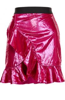 Мини-юбка с контрастным поясом и оборками self-portrait