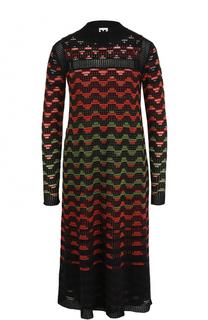 Шерстяное платье-миди с длинным рукавом M Missoni