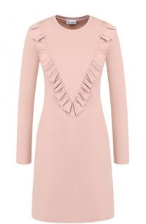 Мини-платье с длинным рукавом и оборками REDVALENTINO