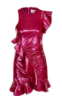 Мини-платье асимметричного кроя с драпировкой self-portrait