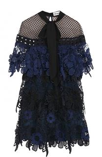 Кружевное мини-платье с воротником аскот self-portrait