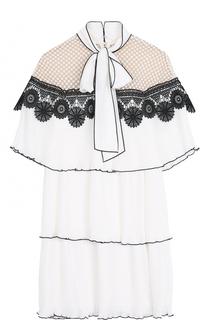 Плиссированное мини-платье с воротником аскот self-portrait