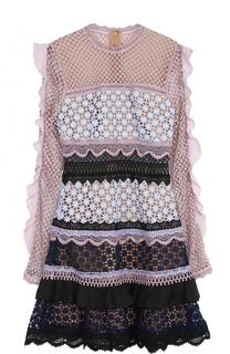 Кружевное приталенное мини-платье с оборками self-portrait