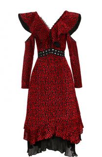 Платье-миди с V-образным вырезом на спинке и открытыми плечами self-portrait