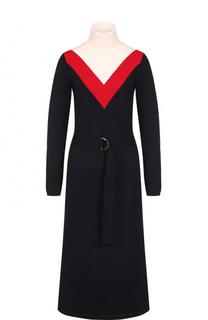Шерстяное платье-миди с высоким воротником Tory Burch