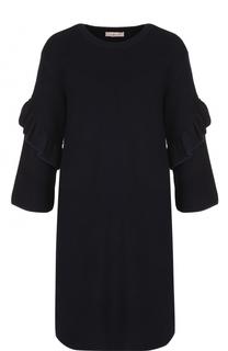 Шерстяное платье с длинным рукавом и оборками Tory Burch