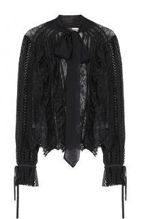 Прозрачная кружевная блуза с воротником аскот self-portrait