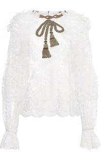 Кружевной топ с длинным рукавом и оборками Dolce & Gabbana