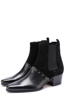 Комбинированные ботинки с заклепками Balmain