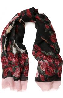 Платок из смеси кашемира и шелка с цветочным принтом Dolce & Gabbana