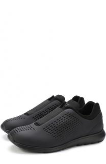 Кожаные кроссовки без шнуровки с эластичной вставкой Z Zegna