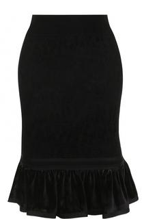 Бархатная юбка-миди с оборкой Roberto Cavalli