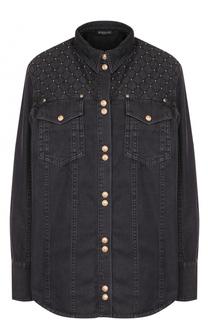 Джинсовая блуза с накладными карманами и потертостями Balmain