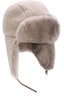 Кашемировая шапка-ушанка с отделкой из меха норки Inverni