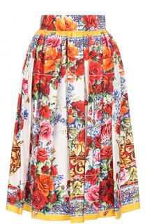 Шелковая юбка-миди с ярким принтом Dolce & Gabbana