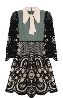 Платье с кружевной отделкой и воротником аскот Chloé