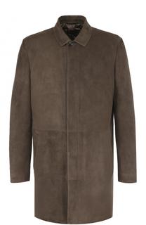 Однобортное кожаное пальто с отложным воротником Loro Piana