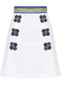 Мини-юбка с цветочной отделкой и широким поясом Dolce & Gabbana